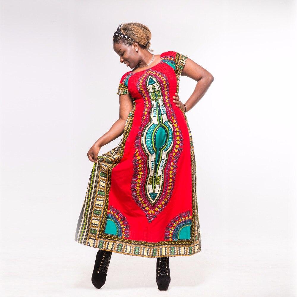 Dashikiage Autumn Red Cotton Dashiki Stunning Elegant African Ladies Long Dress