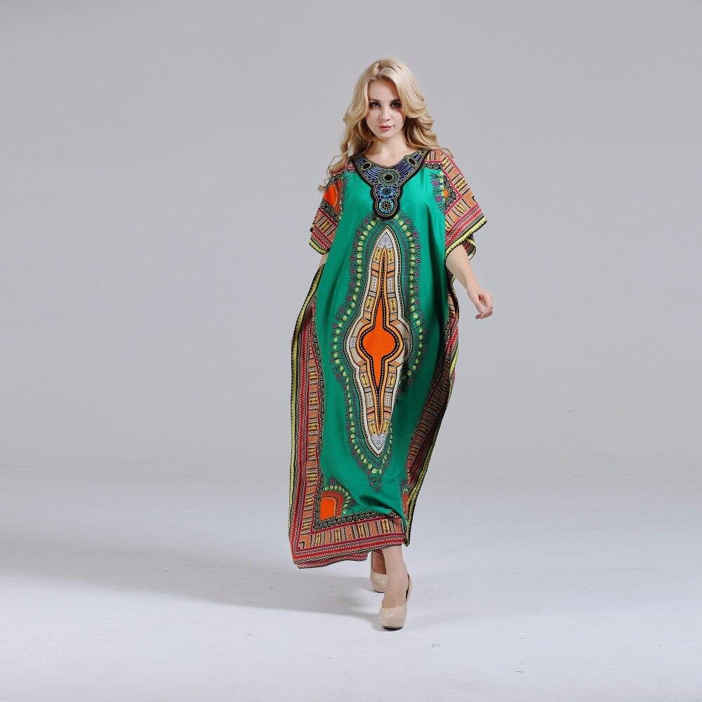 Dashikiage New Fashion Women's Dashiki Dress 100% Cotton African Print Maxi Vestidos Robe Africaine Femme Dashiki Dress