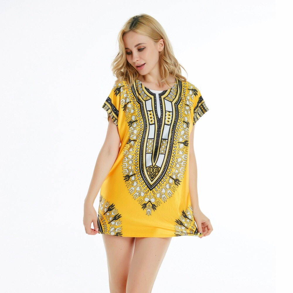Yellow Cute Sexy Succunct African Tranditional Print Dashiki Bohemian Top T-shirt Dress