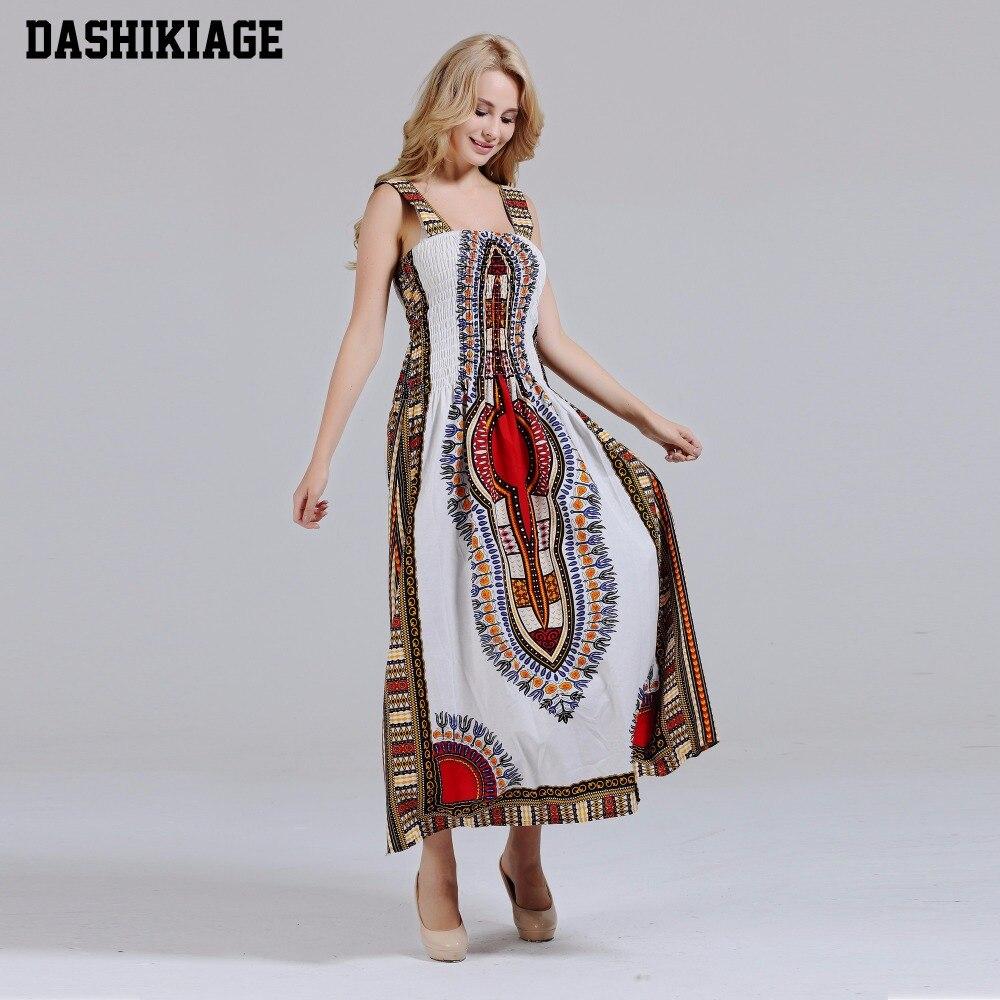 Dashikiage Lady Dashiki Dress Traditional Print Dresses African Sundress Strapless Tribal Spaghetti