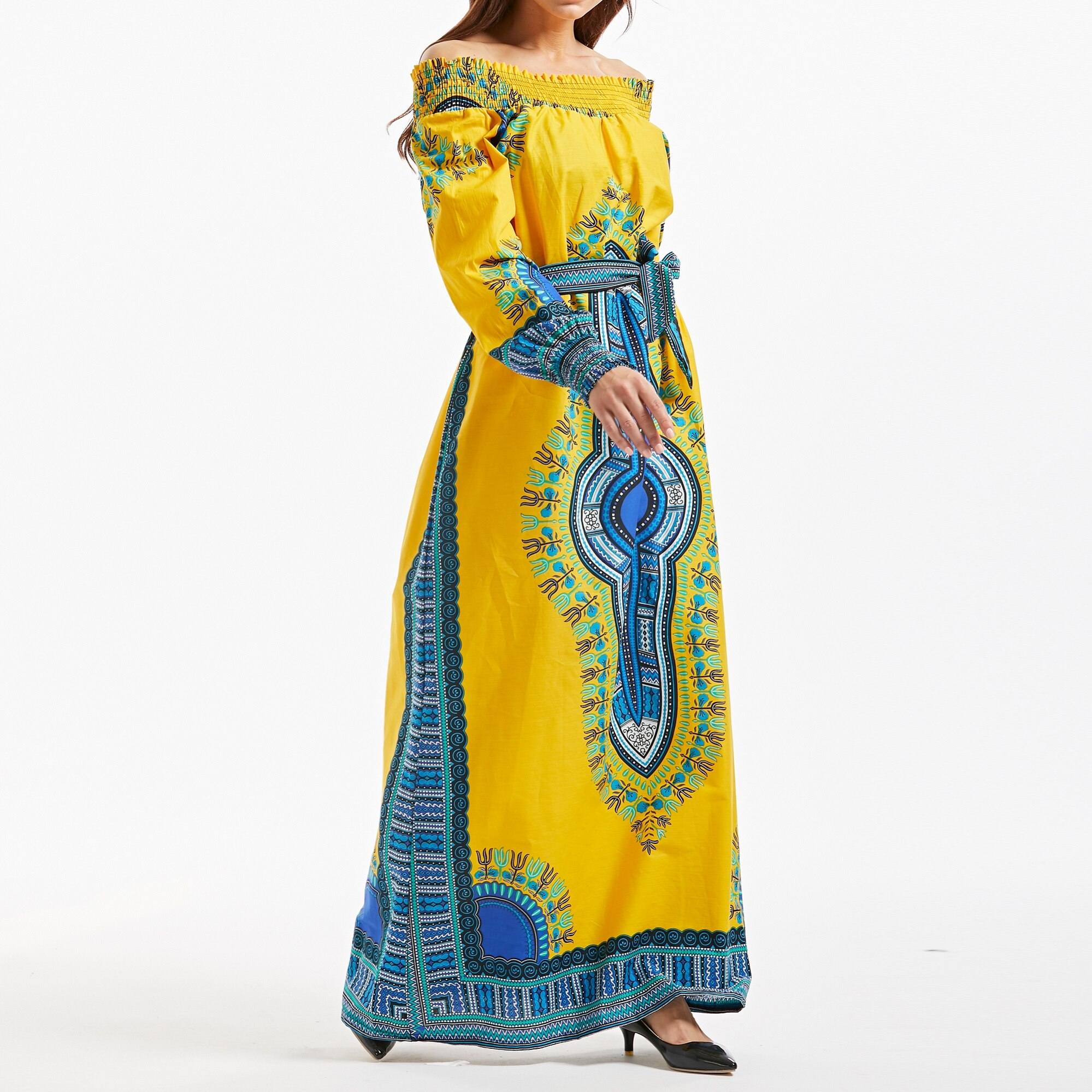 New African Design Dashiki Bazin Long Sleeve Dashiki Dress For Lady 100% Cotton 2019