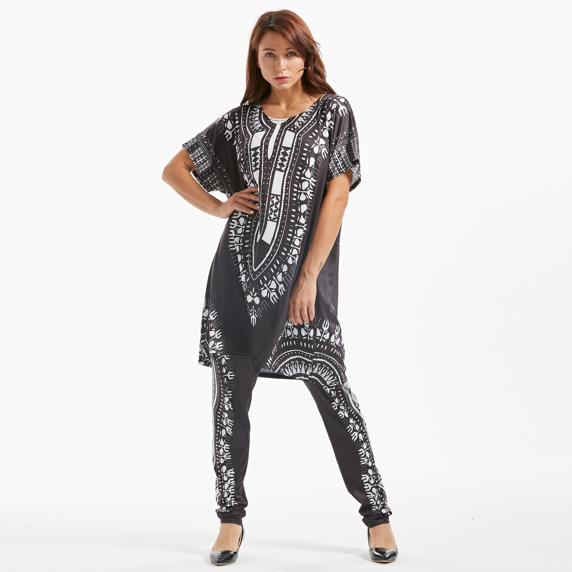 African Print Dresses For Women Dashiki Traditional African Two Piece Set Print Tracksuit Bazin Tops Pants Clothing Female Suit