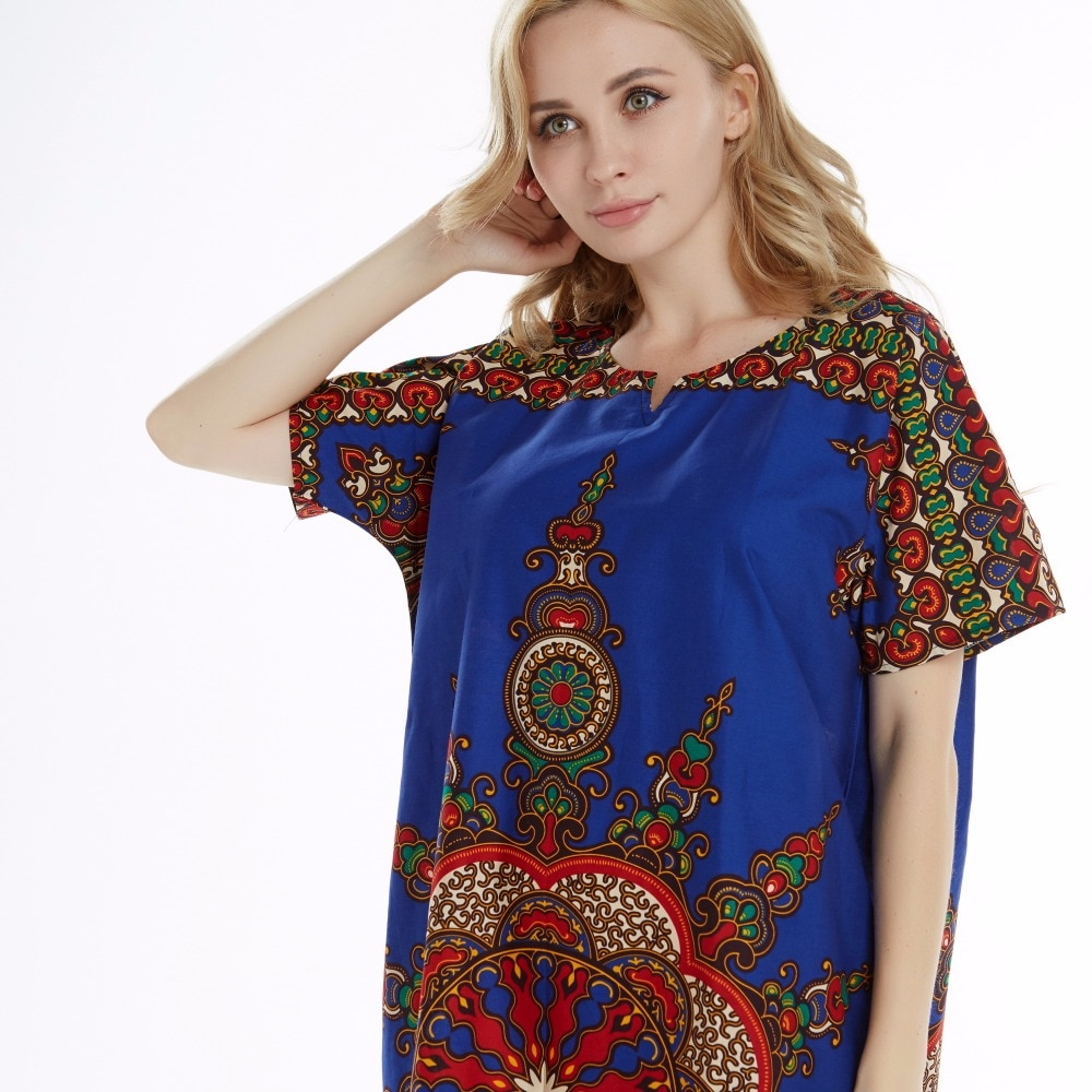 Dashikiage 100% Cotton New Arrival Blue Women's African Sun Print Dashiki Stunning elegant African Ladies Dress