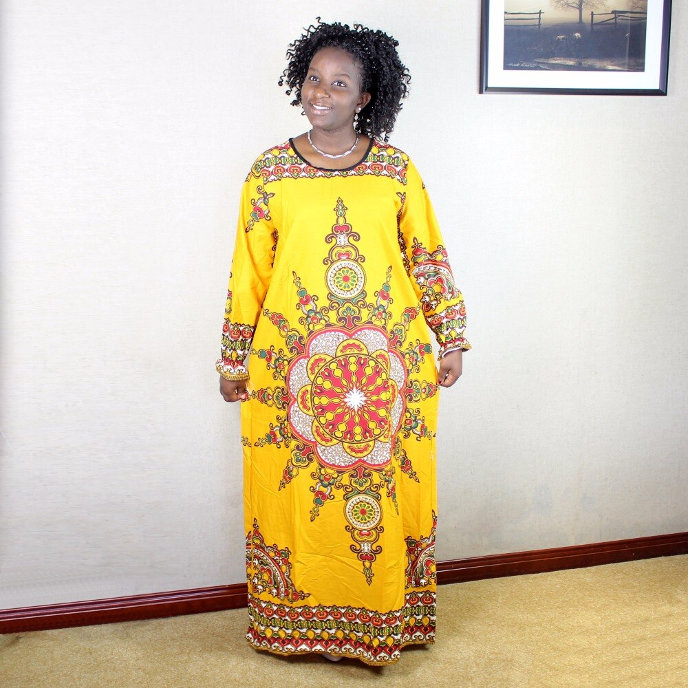 Newest 100% Cotton African Women Lady Classic Long Sleeve Loose African Dashiki Long Dress