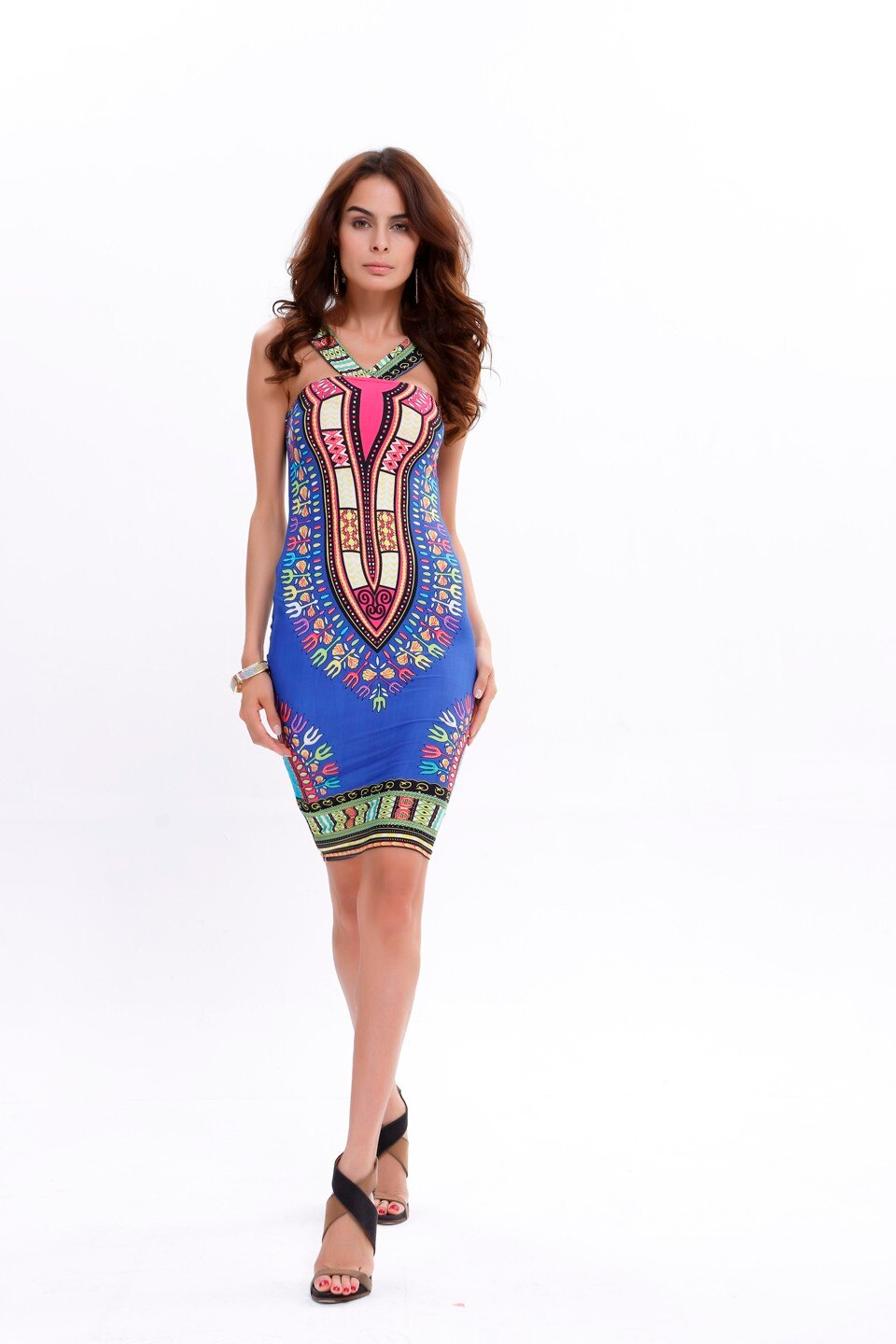 (fast shipping) Sexy Succunct African Tranditional Print Dashiki Bohemian Backless Black Daisy Sexy Dress for lady