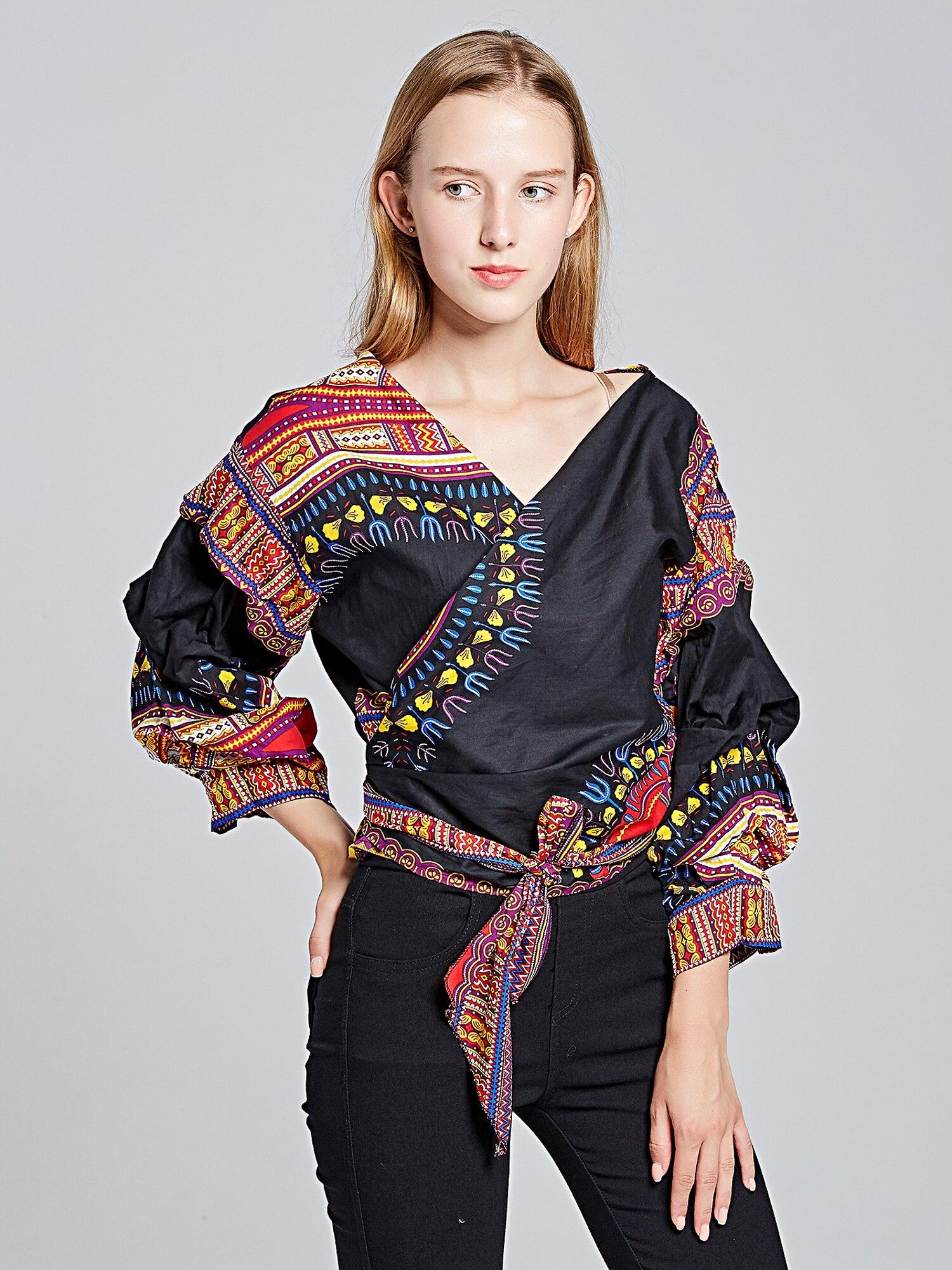 Girls V neck cross Dashiki 100% Cotton top Dashiki female vestido festa 2019