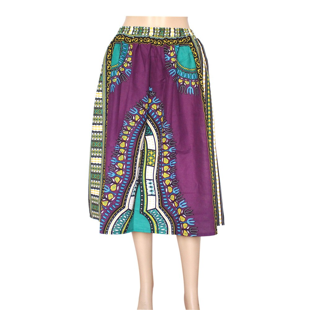 Dashikiage New African Fashion 100% Cotton Vintage Ladies Dashiki Floral Print Mid-Calf Skirt