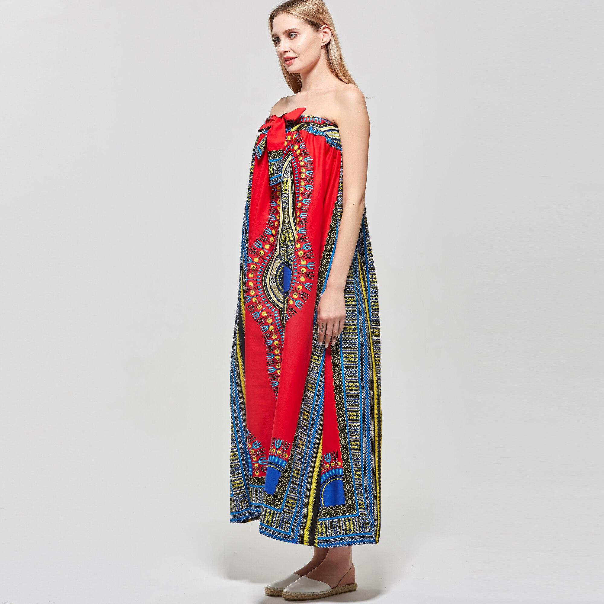 Loose Cotton Dashiki Off shoulder sleeveless beach summer 2019 Lining elastic band sexy Big vestidos