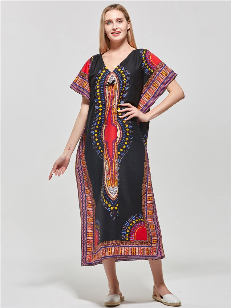 Sexy v-neck women dress Elegant sashes summer dress Dashiki print cotton ladies dress vestidos