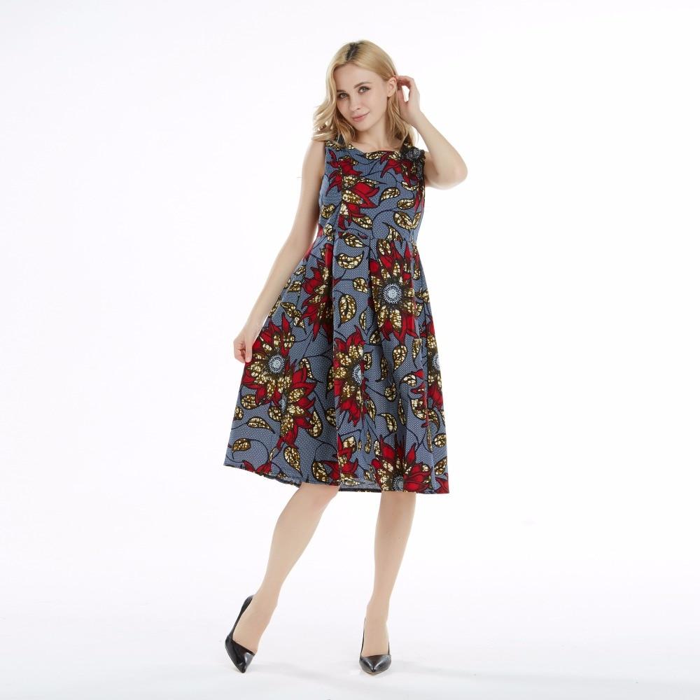 100% Cotton WAX Women African Dresses Robe Long Loose Printed Retro Vintage Suit Plus Size