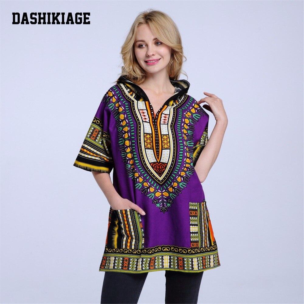 Dashikiage Hoodies 100% Cotton Dashiki with Hood Men's Women's African Dashiki Shirts Dress Boho Hippie Kaftan Festive Clothing