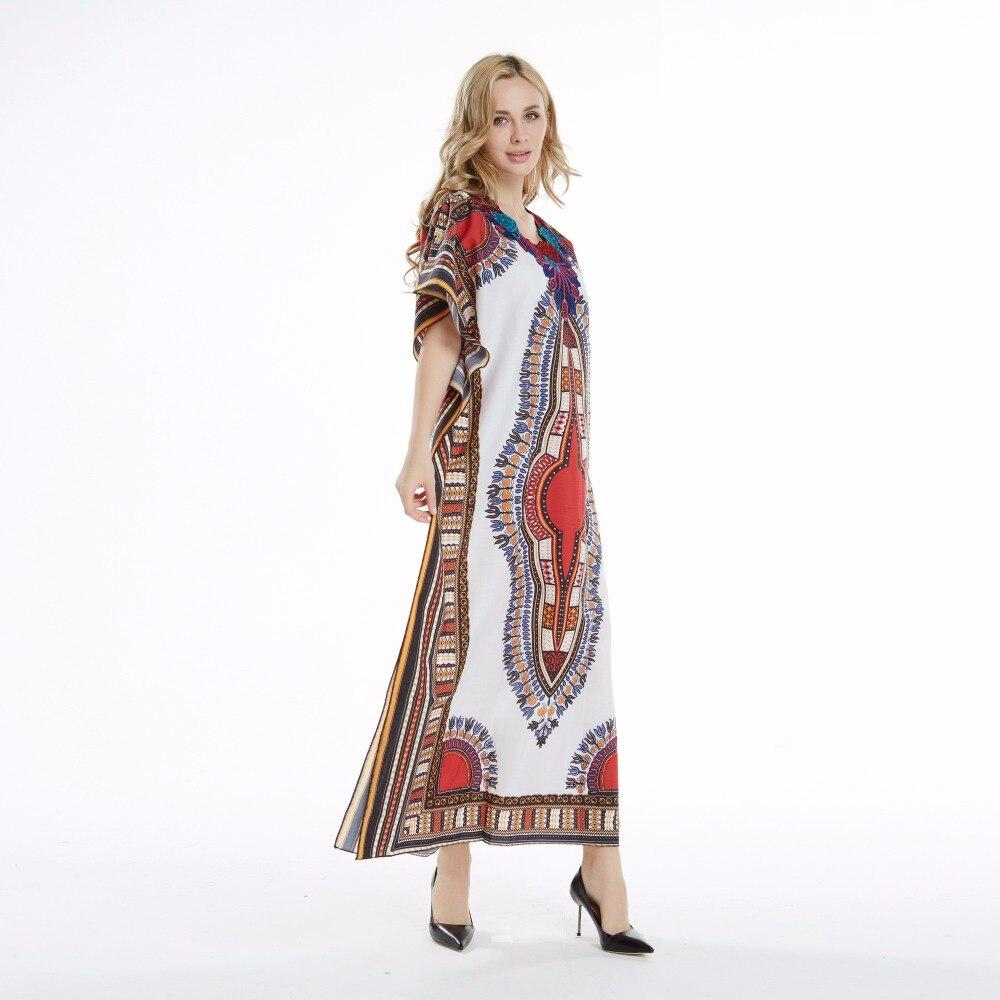 Dashikiage Lovely Fashion Women traditional African Print Beach White Red Dashiki Boho Maxi Long Dress