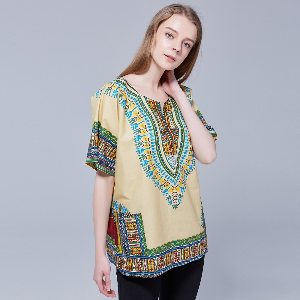 Dashikiage Unisex Ethnic Vintage 70s Boho Tribal African Shirt with DASHIKI Print 100% Cotton Top Shirt 2019