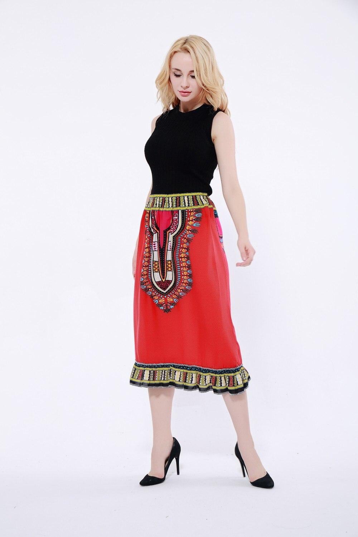 African Dashiki midi Ankara Tribal Print Flared Handmade Full Skirt