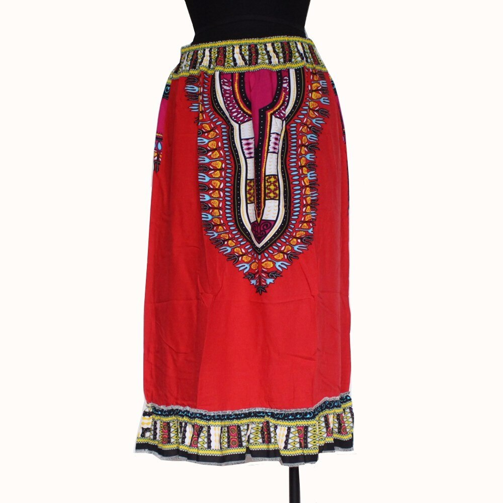 African Dashiki midi Ankara Tribal Print Flared Handmade Full Skirt