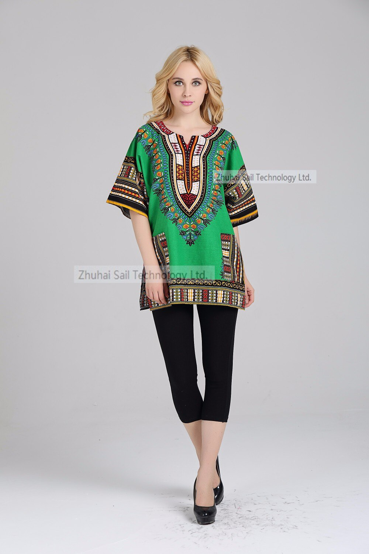 African Dashiki Shirt Poncho Kimono Colorful Hippie Tribal Print Gypsy Bohemian Festival Top Vintage Beach Cover Up T-shirt