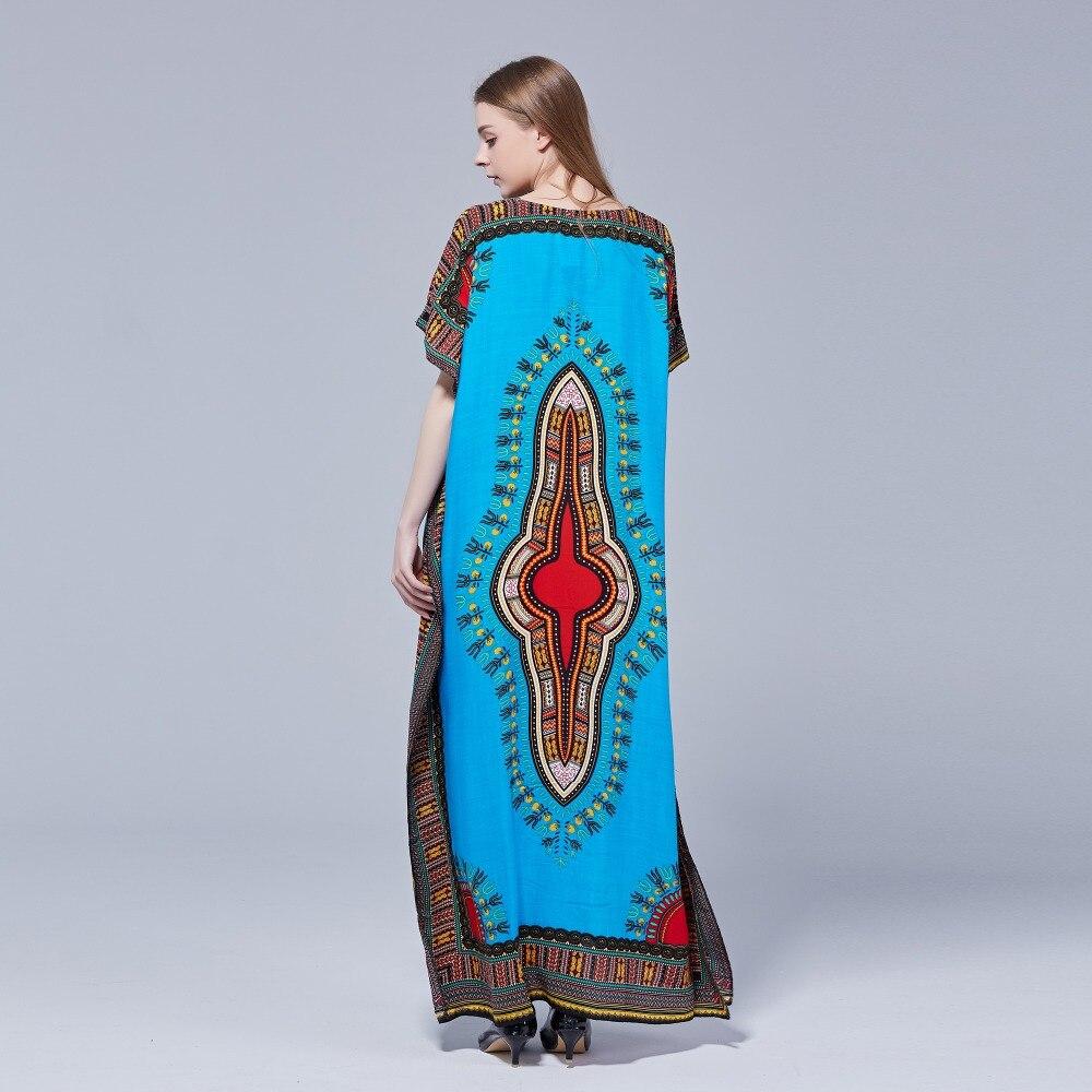 Dashikiage Women's Loose Vintage African Print Fabric Dashiki Ankara Stunning Elegant Ladies Cotton Viscose Dress 2019