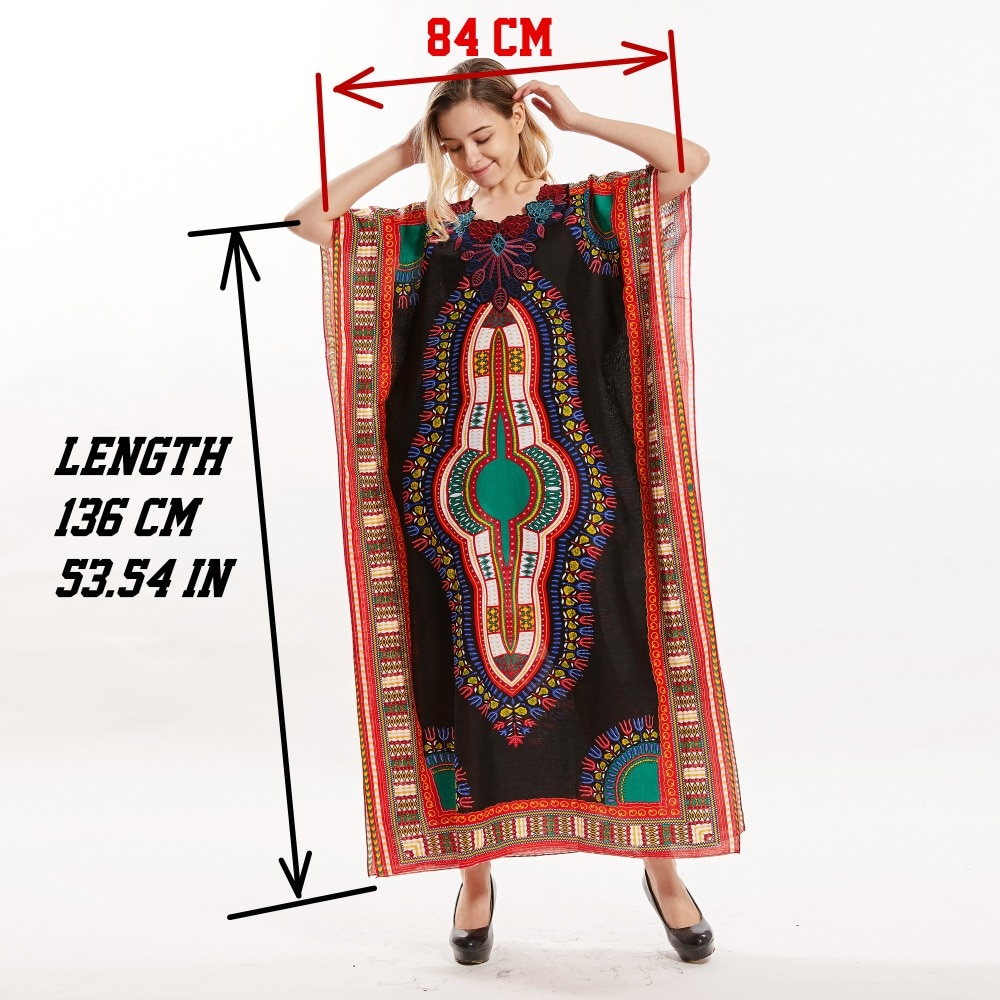 Dashikiage Women's Loose Vintage African Print Fabric Dashiki Ankara Stunning Elegant Ladies Cotton Viscose Dress 2019