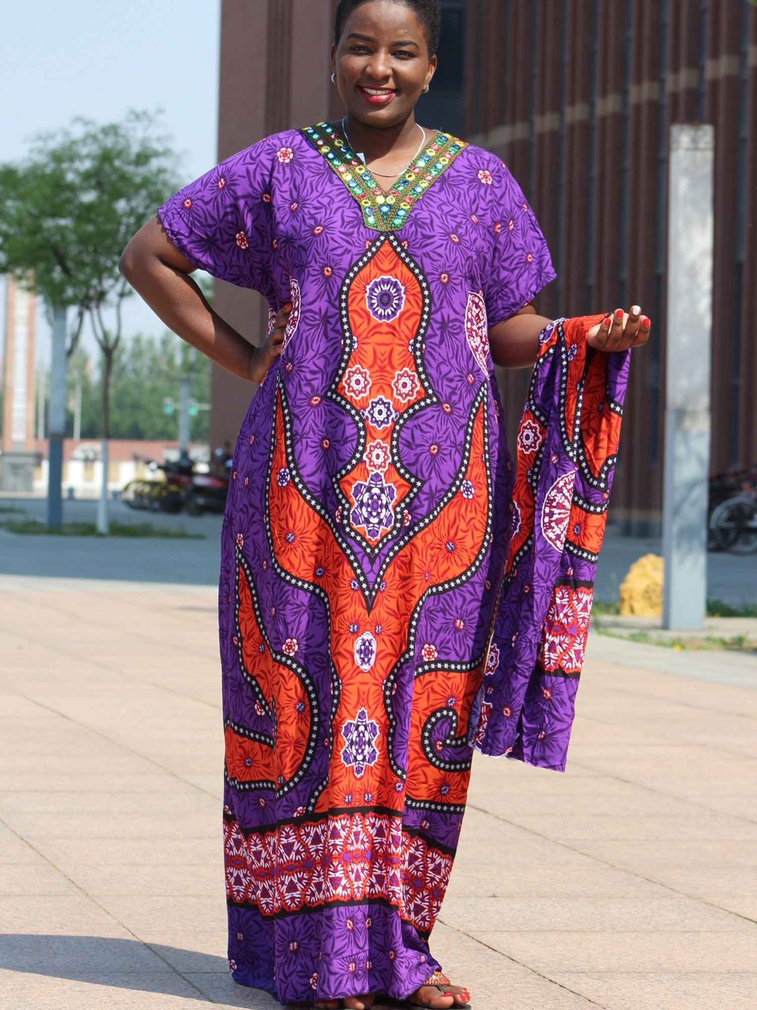 Dashikiage African colorful Shiny Sequins Ghana Plus dress with a Long scarf