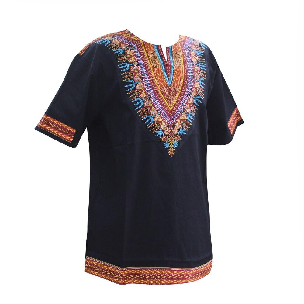 Dashikiage African Dashiki Pattern Print Short Sleeve WAX Fabric Tops Shirt  Super Plus Size