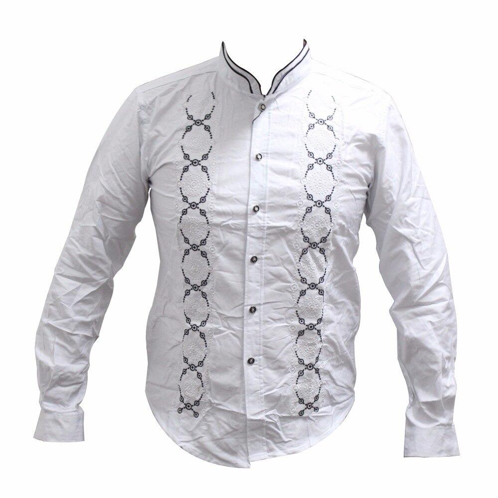 Dashikiage Pan-African Dashiki Embroidered Long Sleeve Shirt Traditional Nigerian Native Ankara Party Blouse