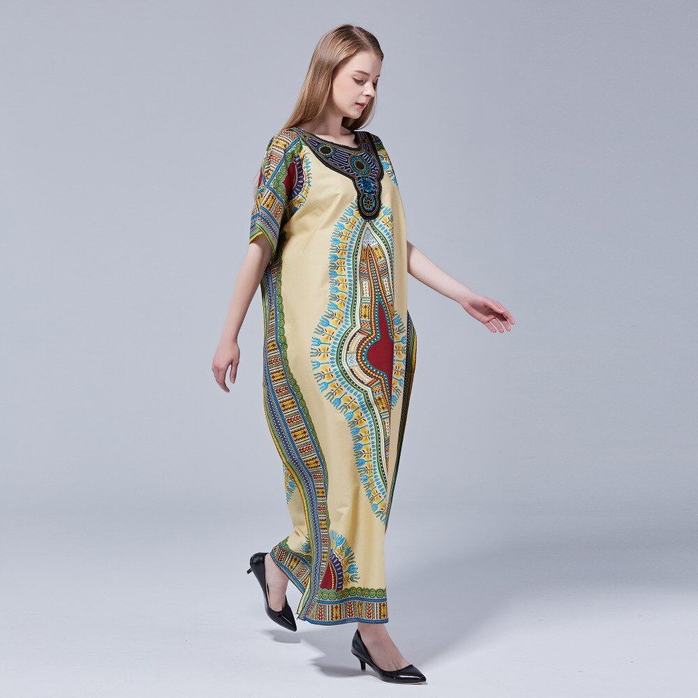 Dashikiage 100% Cotton New Arrival Women's African Print Dashiki Stunning elegant African Appliques Embroidery Ladies Dress