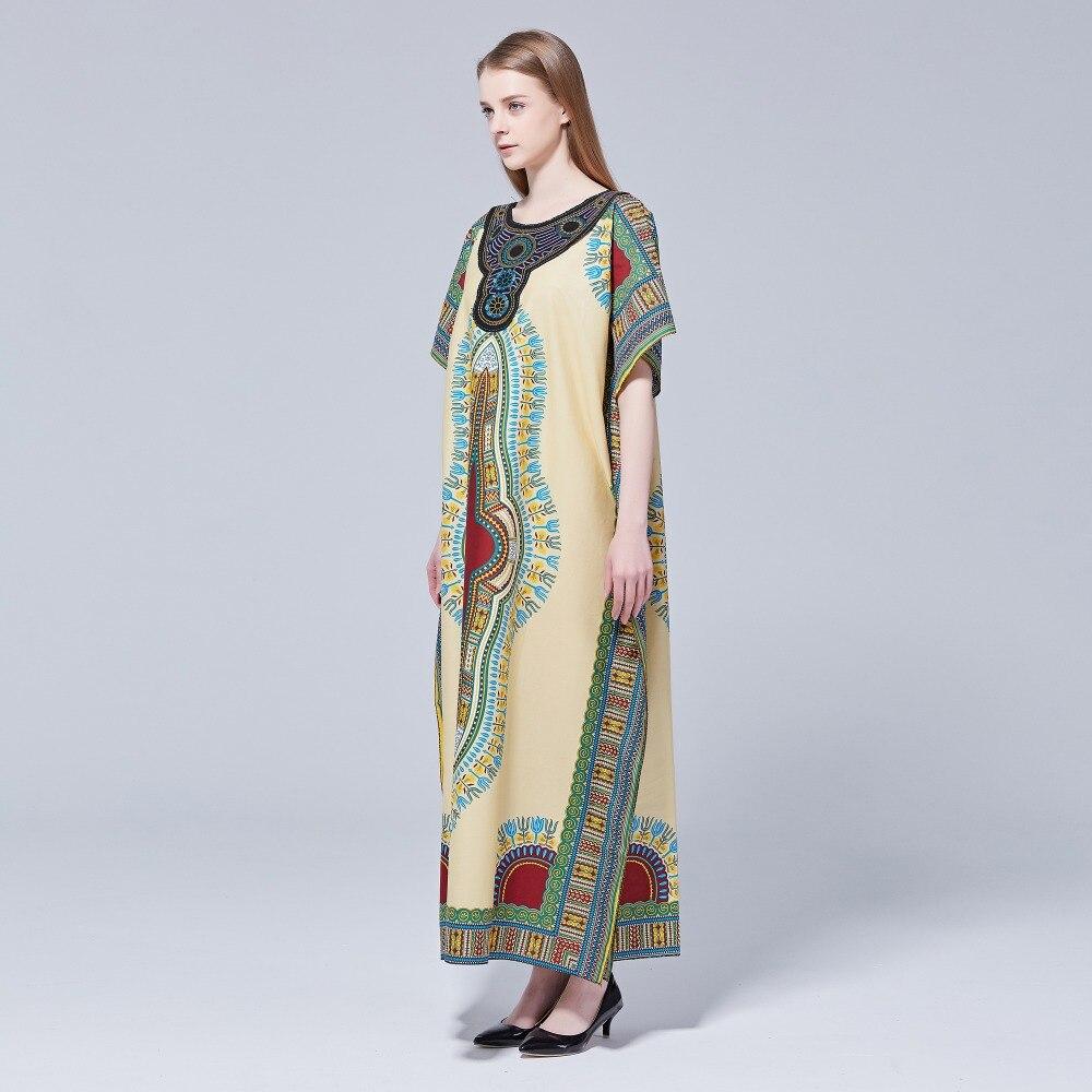 Dashikiage 100% Cotton New Arrival Women's African Print Dashiki Stunning elegant African Appliques Embroidery Ladies Dress