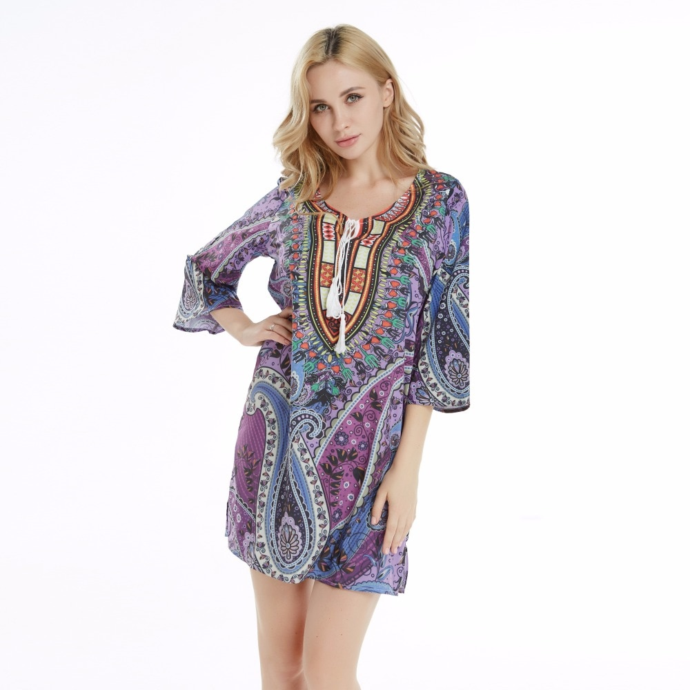 Silk imitation Purple Sexy Succunct African Tranditional Print Dashiki Bohemian Macrame Sexy Dress for lady