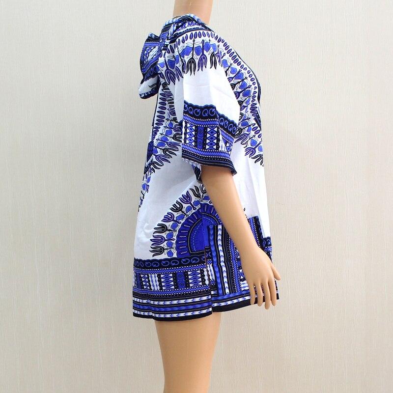 2019 New Arrival Dashikiage 100% Cotton Blue Dashiki Pattern Printed Hoodies Short Sleeve African Dashiki Tops Shirt
