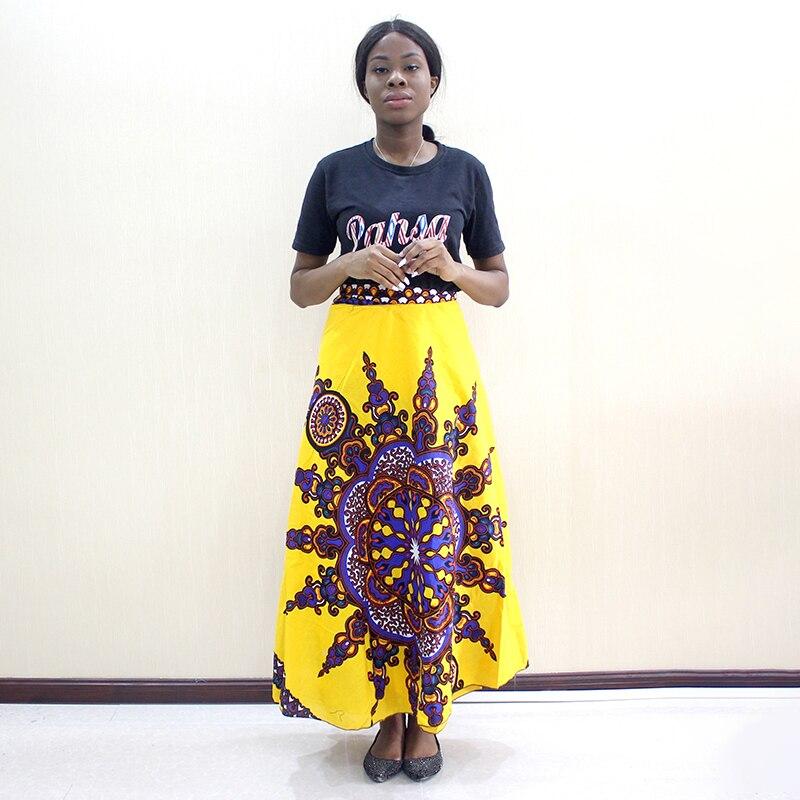 2019 Newest Arrivals Dashikiage Fashion African Dashiki Pattern Print Yellow Cotton Skirt Bohe Casual Dashiki Women Skirt