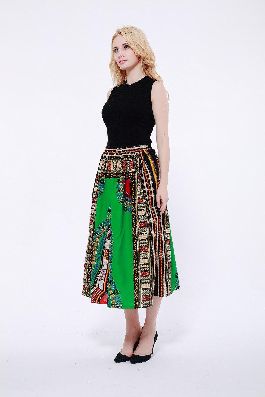 Vintage dashiki print skirts women punk rock korean skirt streetwear Drawstring elastic waist ladies midi skirt 2019
