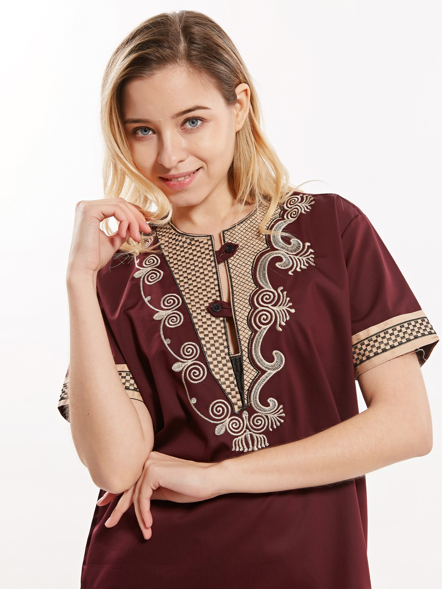 Unisex Dashikiage muslim shirt Embroidered Tailored islamic clothing jelaba homme	 2019