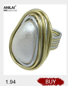 MANILAI Handmade Statement Rings For Women Wire Spiral Round Imitation Pearl Big Rings Finger Rings Fashion Jewelry