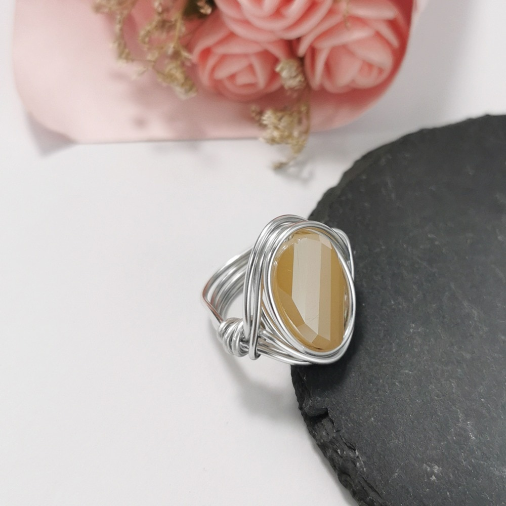 MANILAI Boho Handmade Crystal Rings For Women Fashion Jewelry Gold Color Wire Beads Finger Ring Big Champagne Wedding Rings
