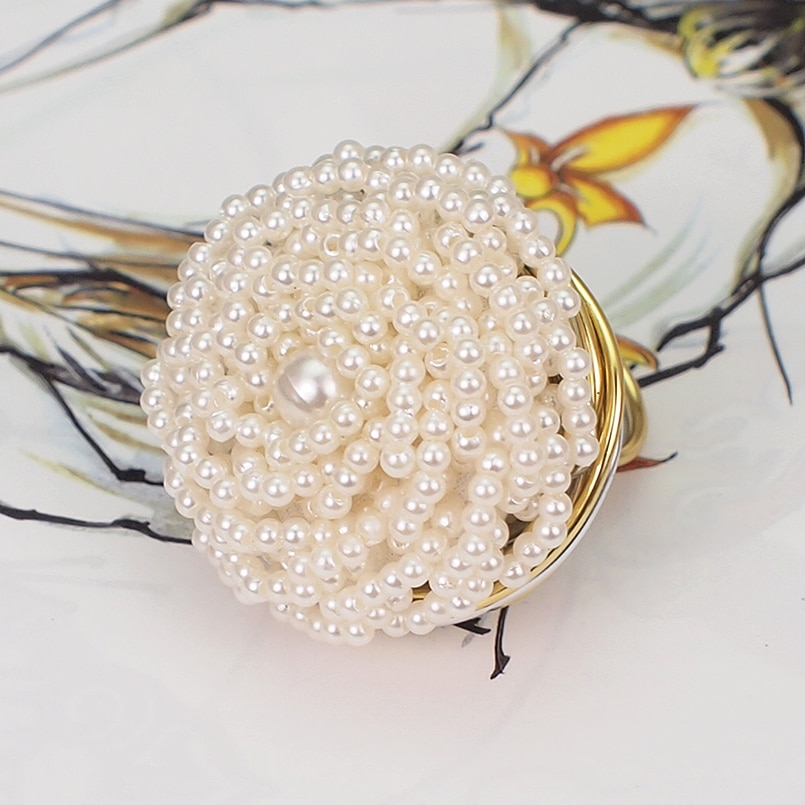 MANILAI Handmade Charm Bead Resin Rings Women Fashion Jewelry Gold Color Wire Enwind Finger Vintage Ring