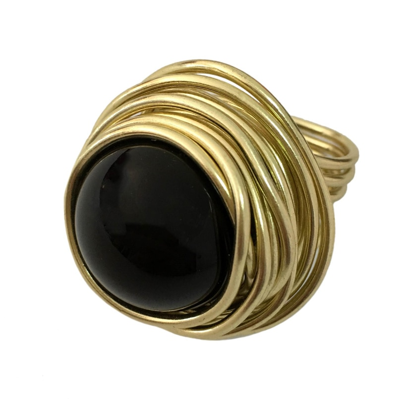 MANILAI 4 Colors Handmade Wire Big Beads Rings For Women Statement Jewelry Fashion Acrylic Finger Rings Gift  Vintage Style