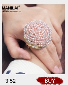 MANILAI Handmade Big Champagne Crystal Rings For Women Wedding Party Jewelry Gold Color Wire Helical Wound Beads Finger Ring