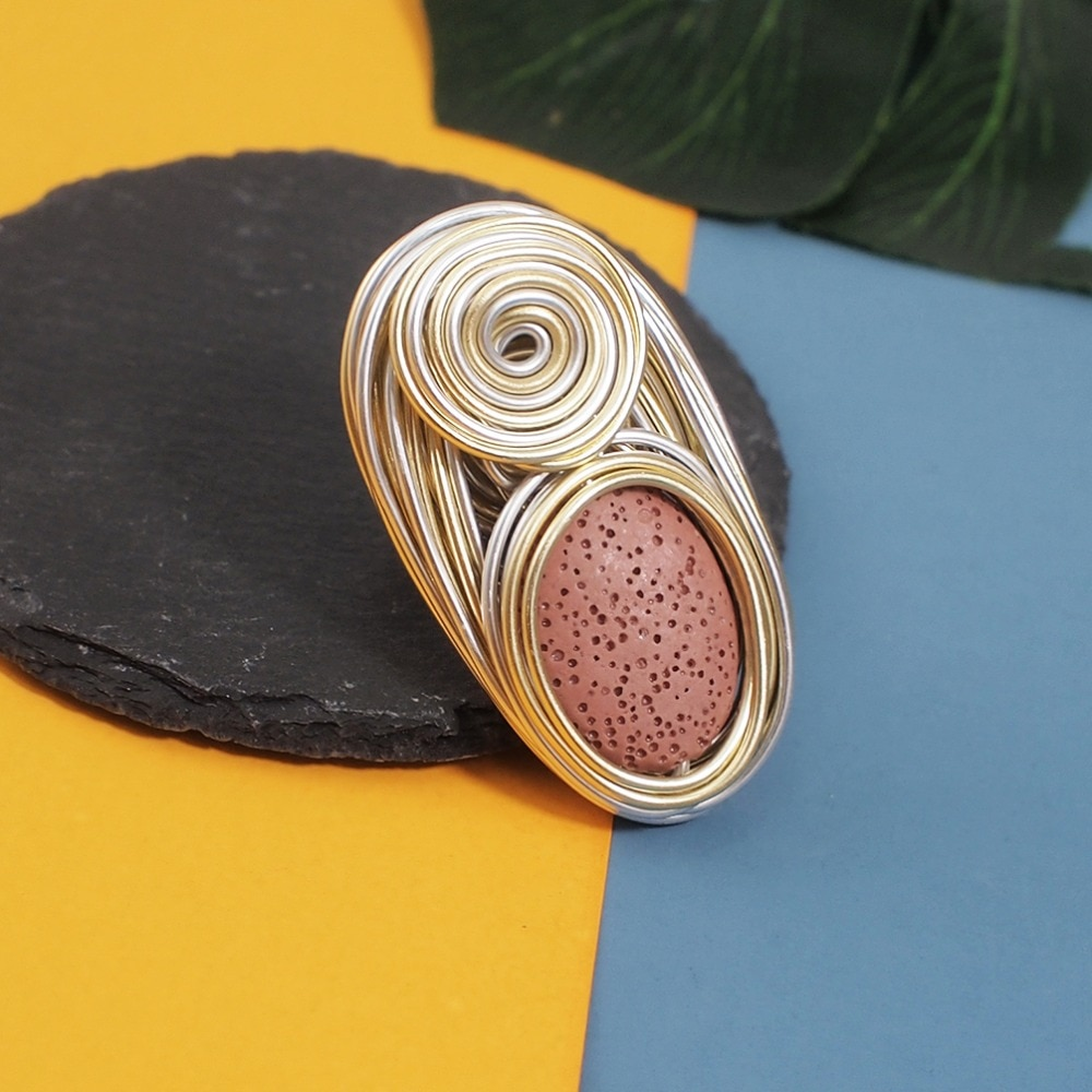 MANILAI Bohemia Handmade Vesuvianite Rings For Women Fashion Jewelry Gold Color Wire Helical Wound Beads Finger Ring