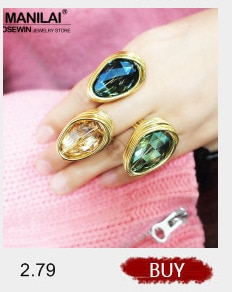 MANILAI Handmade Metal Wire Big Crystal Rings For Women Bohemian Statement Jewelry Finger Rings Wedding Accessories