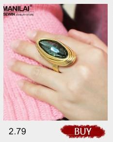 MANILAI Bohemian Handmade Rings For Women Fashion Black Wire Wrap Big Crystal Imitation Pearl Ring Finger Statement Jewelry