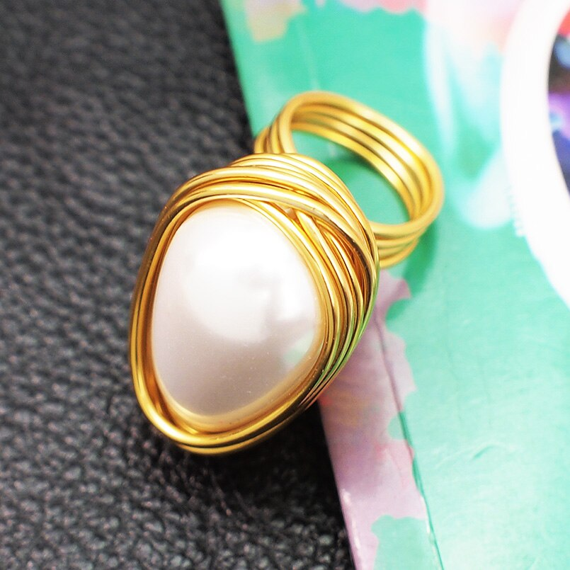 MANILAI Handmade Wire Spiral Statement Rings Women Charm Simulated Pearl Rings Finger Statement Rings Party Jewelry