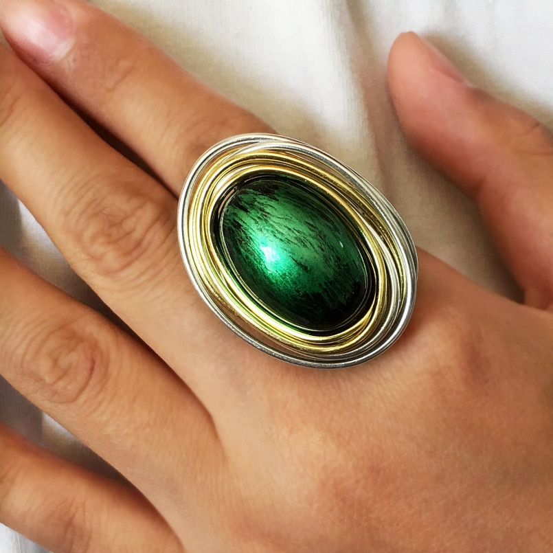 Vintage Metal Green Acrylic Steampunk Rings For Women Fashion Handmade Wire Wrap Jewelry Statement Finger Rings UKMOC