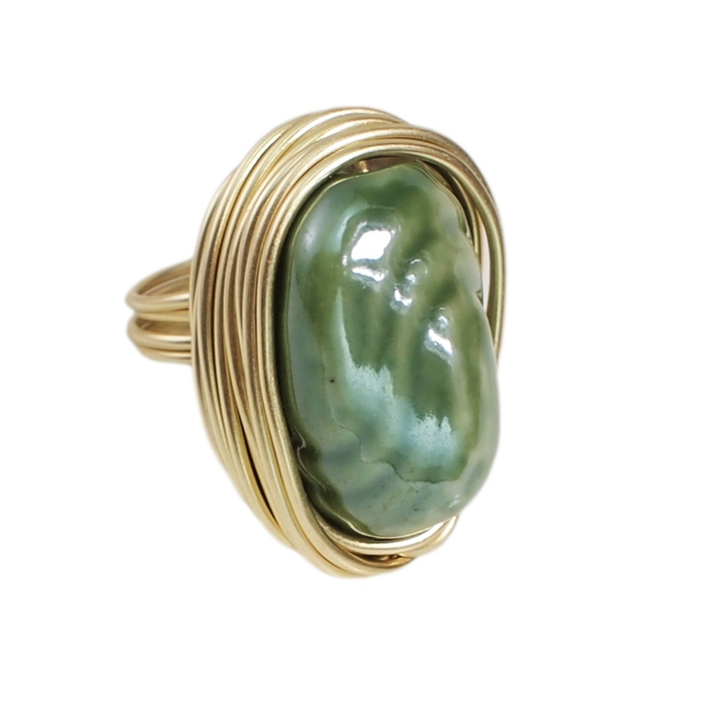 Boho Ceramic Rings Handmade Metal Wire Statement Finger Rings Accessories Party Wedding For Women Jewelry UKMOC