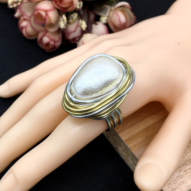 Handmade Wire Spiral Bezel Rings Geometric Simulated Pearl Rings Women Fashion Jewelry Finger Statement Rings UKMOC