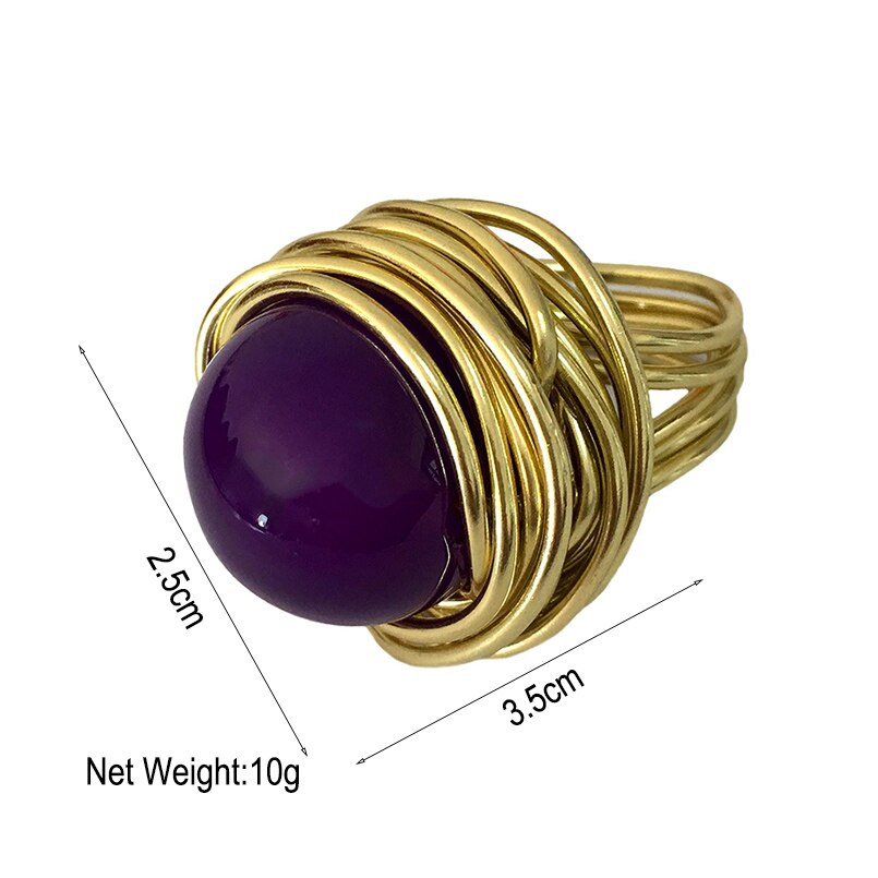 Handmade Wire Big Beads Rings For Women Fashion Statement Acrylic Finger Rings Gift Vintage Style Jewelry 4 Colors UKMOC