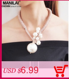 MANILAI Simple Alloy Choker Simulated Pearl Pendants Necklaces For Women Fashion Jewelry Bib Collar Statement Necklace