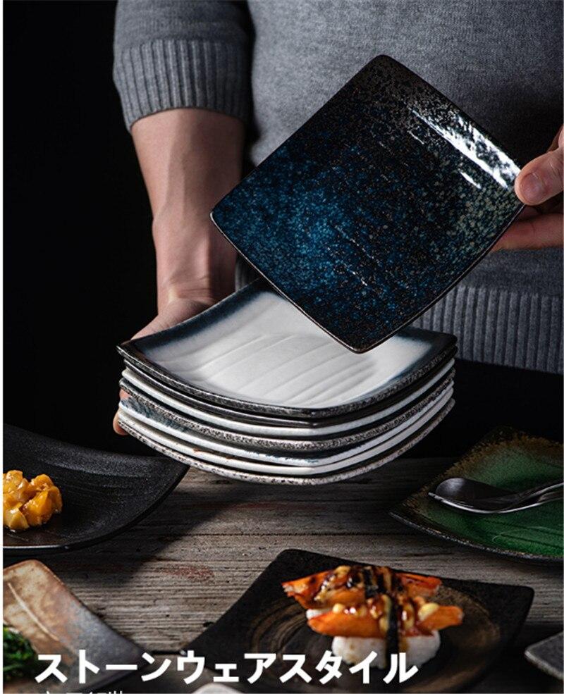 square tray Platter Ceramics Glaze Coloured Vegetable Check Center Plate European Concise sushi plate Steak tray Disc bone china