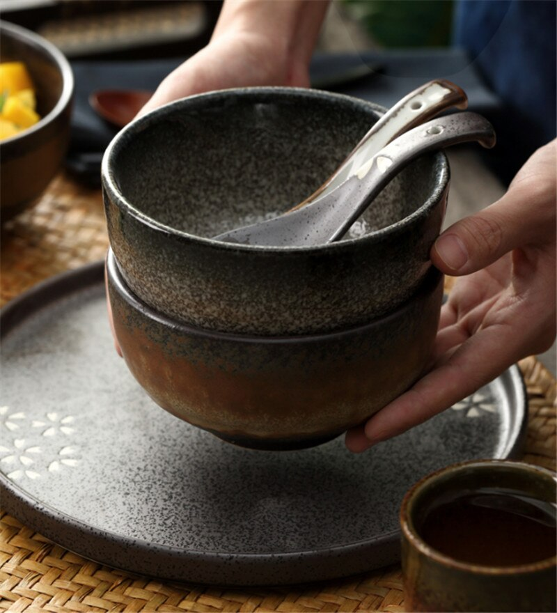 Japanese Style Classical Ceramic Kitchen Rice Bowl Big Ramen Soup Bowl Spoon Small Tea Tableware cute salad ceramic mixing bowl