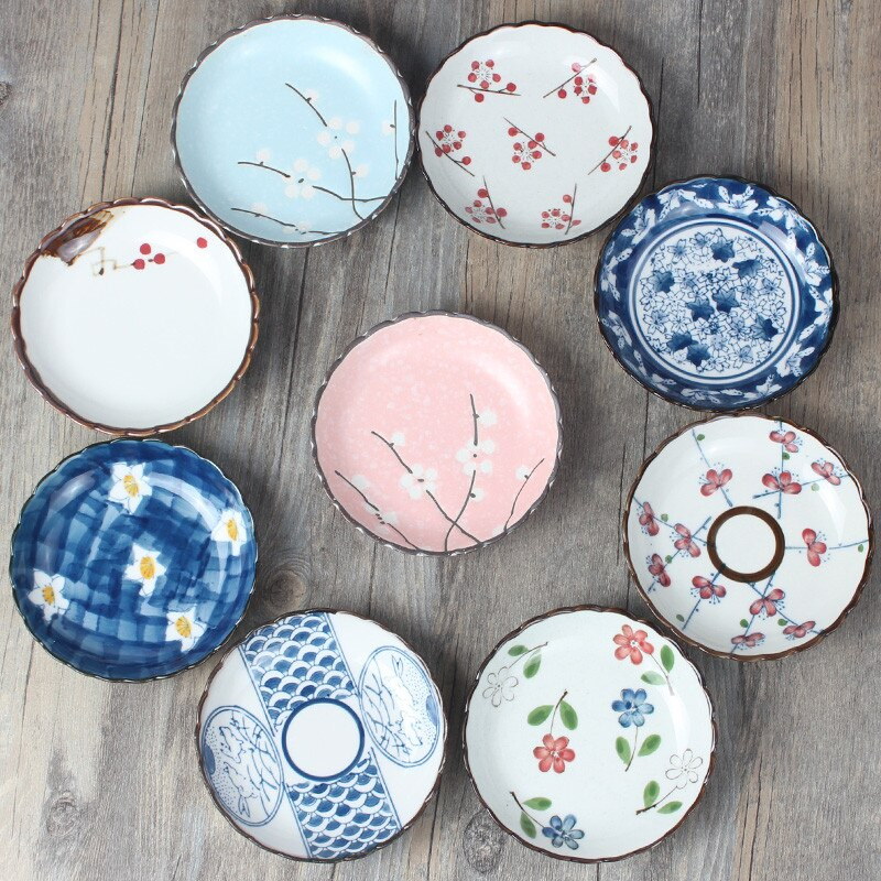 Japanese ceramic plate saucer hot pot sauce plate sushi sauce dish snack plate Korean cold food tray soy sauce dish  sauce cup