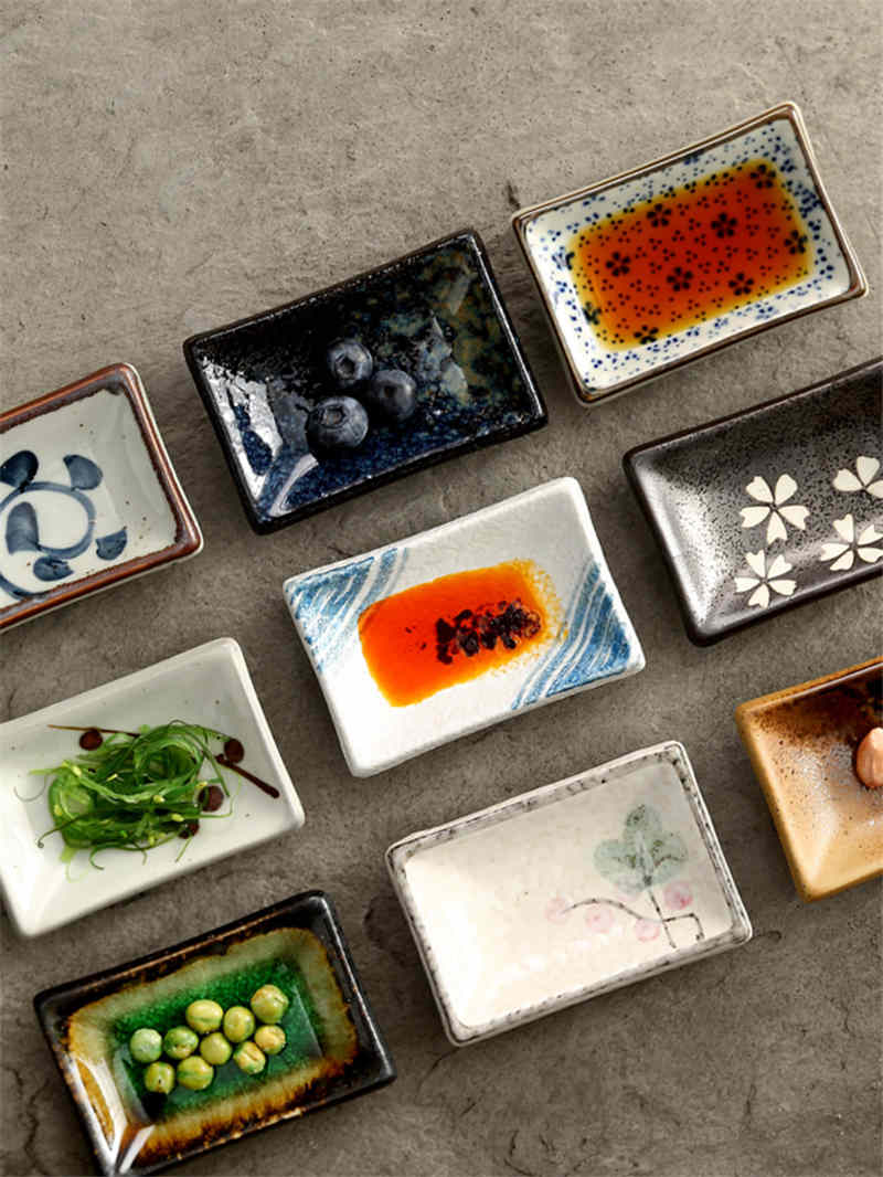 ceramic small square sauce dish Japanese style sushi dish flavoring sushi mustard plate soy sauce cherry blossom Pepper tray